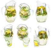 Установите от стеклянных кувшинов и tumblers с лимонадом Стоковые Изображения RF