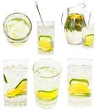 Установите от стеклянных tumblers с естественным лимонадом Стоковое фото RF