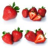 Установите от ягод клубники Изолировано на белизне Стоковое Изображение