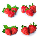 Установите от ягод клубники Изолировано на белизне Стоковое Фото