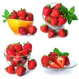 Установите от ягод клубники Изолировано на белизне Стоковое фото RF