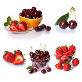 Установите от ягод клубники и вишни Изолировано на белизне Стоковое Изображение