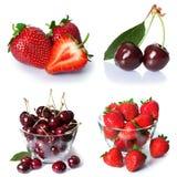 Установите от ягод клубники и вишни Изолировано на белизне Стоковое Изображение RF