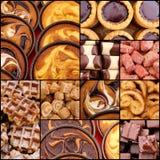 Установите печенья фундука коллажа с смешанным вареньем ягоды Стоковые Фотографии RF