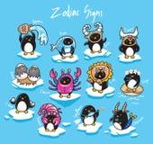 Установите пингвинов зодиак подписывает в стиле мультфильма также вектор иллюстрации притяжки corel иллюстрация штока