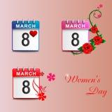 Установите пинк 8-ое марта календарей Стоковые Фотографии RF