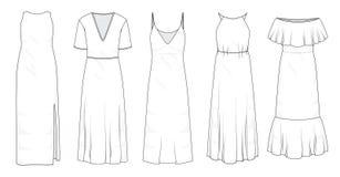 Установите платьев лета длинных макси бесплатная иллюстрация