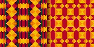 Установите племенных безшовных картин Ткань Kente бесплатная иллюстрация