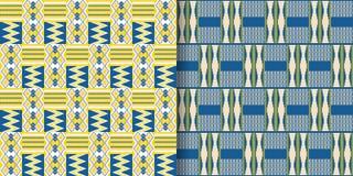 Установите племенных безшовных картин Ткань Kente иллюстрация штока