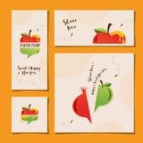 Установите поздравительные открытки для hashanah rosh праздник еврейский Стоковые Изображения RF