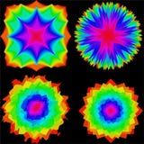 Установите покрашенных абстрактных помарок или геометрических цветков иллюстрация вектора