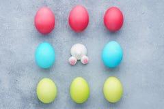 Установите покрашенных яя и смешного батта зайчика Украшение пасхи стоковые фото