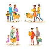 Установите покупок семьи Характеры с приобретениями стоковое изображение rf