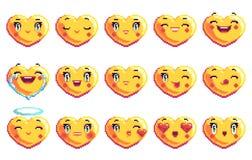Установите 15 положительных эмоций сердце сформировало emoji искусства пиксела в золотом цвете стоковое изображение