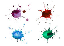 Установите помарки акварели цвета, изолированные на белой предпосылке Стоковые Изображения