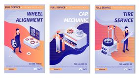 Установите помечать буквами рекламы для обслуживания автомобиля бесплатная иллюстрация