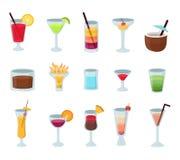 Установите популярным значков коктейлей алкоголя изолированных вектором стоковая фотография