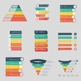 Установите представления Infographics дела Красочное объясняя Infographics с вариантами и значками стоковые изображения