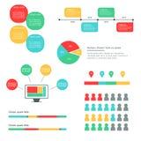 Установите представления Infographics дела Красочное объясняя Infographics с вариантами и значками стоковое фото rf