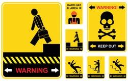 установите предупреждение знаков Стоковые Изображения