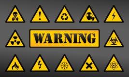 Установите предупреждающие значки Стоковая Фотография