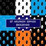 УСТАНОВИТЕ призрак хеллоуина предпосылки вектора безшовный Стоковые Фотографии RF