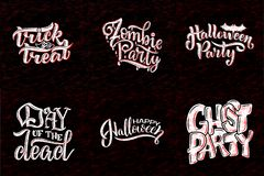 Установите при фраза на хеллоуин, помечая буквами Каллиграфия праздника для знамени, плаката, поздравительной открытки, приглашен Стоковая Фотография RF