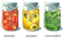 Установите прозрачных консервных банок с овощами бесплатная иллюстрация