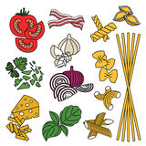 установите продукты картина безшовная Макаронные изделия и овощи Готовый Стоковые Изображения RF
