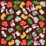 установите продукты картина безшовная отрезанные овощи Стоковые Фотографии RF