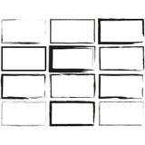 Установите прямоугольник нарисованный рукой, объекты ручки войлок-подсказки Текстовое поле и рамки Стоковое Изображение RF