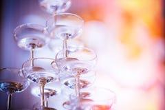 Установите пустые стекла шампанского Стоковая Фотография