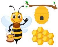 Установите пчелы с ведром меда, пчелы дома и сота на белом бесплатная иллюстрация