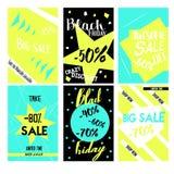 Установите плакат продажи с скидкой процентов конструируйте геометрическое Специальное предложение Стоковые Изображения RF