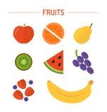 Установите плодоовощи в плоском ftyle Стоковое Фото