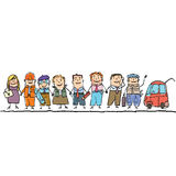 Установите работников различных профессий Стоковое Фото