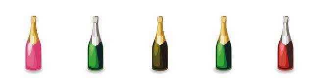 Установите различных бутылок шампанского бесплатная иллюстрация