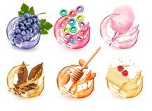 Установите различных вкусов продуктов в выплеске сока Виноградины, плод-приправленные хлопья, конфета хлопка, мед и миндалина бесплатная иллюстрация