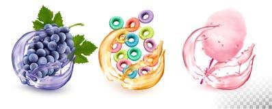 Установите различных вкусов продуктов в выплеске сока Виноградины, плод-приправленные хлопья, иллюстрация штока