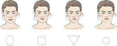 Установите различных женских форм стороны с различным стилем причесок Овально, квадратно, кругло, длинно, диаманты и треугольники бесплатная иллюстрация