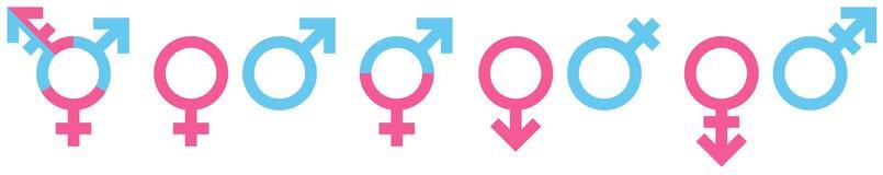 Установите различных значков рода голубой и розовый иллюстрация вектора