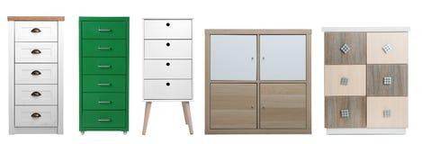 Установите различных стильных commodes на белизне Мебель для шкафа стоковые фотографии rf