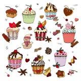 Установите различных традиционных десертов зимы бесплатная иллюстрация