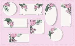 Установите различных флористических бумажных ярлыков иллюстрация вектора