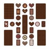 Установите различных шоколадных батончиков и конфет Десерты шоколада для перерыва на чашку кофе стоковые фотографии rf