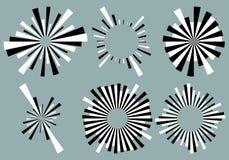 Установите 6 радиальных линий, лучи, элементы лучей Различное starburst, солнце иллюстрация штока
