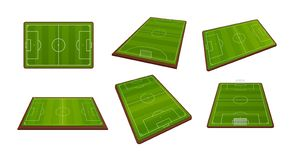 Установите реалистических арен футбола, земель спорт для футбольных матчей иллюстрация штока