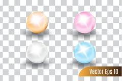 Установите реалистического вектора 3d красочный жемчугов иллюстрация штока