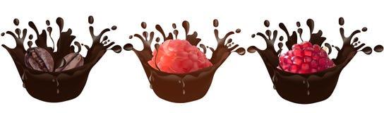Установите реалистического шоколада брызгает вместе с кофе, полениками, гранатовым деревом изолированным на белой предпосылке век иллюстрация вектора