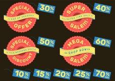 Установите рекламировать ярлыки для супер продажи, особенного предложения, мега продажи и специальной скидки стоковое изображение rf